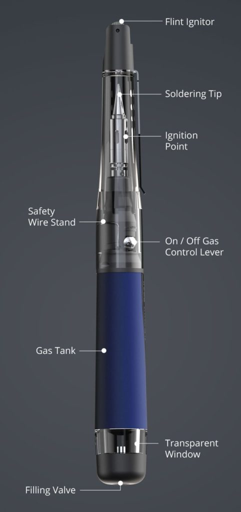 Vertical Description of SOLDERPRO 70 Compact Butane Soldering Iron from Pro-Iroda