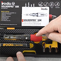 A Person Pointing at SOLDERPRO 50K Professional Butane Soldering Iron Kit