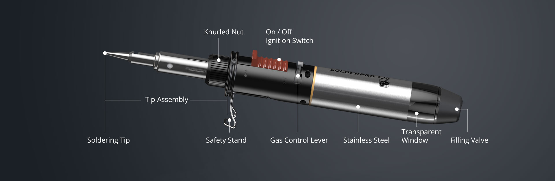 Horizontal Description of SOLDERPRO 120 Premium Professional Butane Soldering Iron from Pro-Iroda