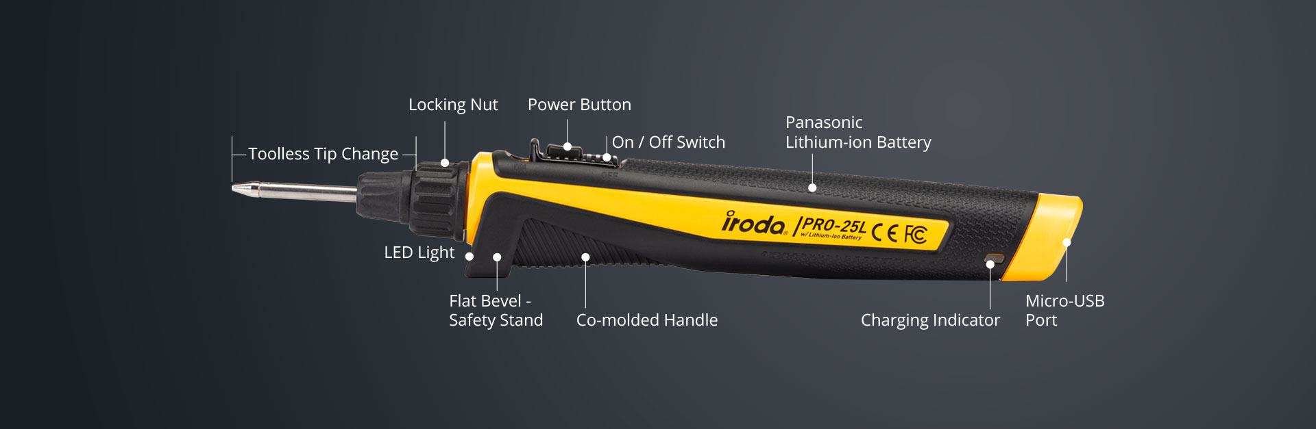 Horizontal Description of PRO-25L USB Battery Rechargeable Soldering Iron from Pro-Iroda
