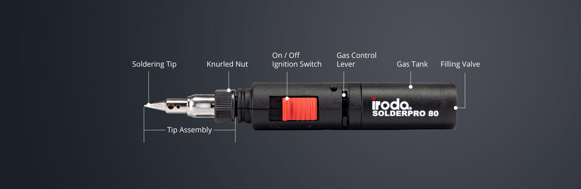 Horizontal Description of SOLDERPRO 80 Pocket size Lite Professional Butane Soldering Iron from Pro-Iroda