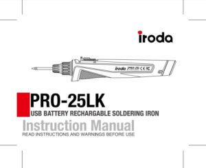 Pro-Iroda's PRO25L Cordless USB Rechargeable Soldering Iron Kit Manual